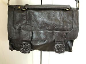 Brown Crossbody Textured Faux Leather Satchel Handbag