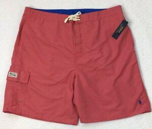 POLO RALPH LAUREN Men's Swim Trunks 3XB Light Red Beach Wear NEW $75 Summer NICE