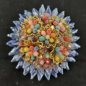 Vintage Czech Brooch Enamel Gilt Floral  Multicoloured
