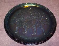 """BLUE Carnival Glass Spirit of '76 Commemorative Plate~Indiana Glass 8"""" ACROSS R"""