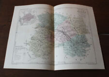 1850 Carte Géographique Atlas époque couleur Département Marne 51 Châlons