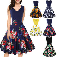 Womens Floral Vintage Midi Dress Sleeveless V-Neck Casual Party Evening Cocktail