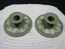 Vintage Pair Of Wedgwood Green Jasperware Raised Relief Candlesticks