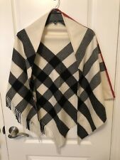 NWT Burberry Half Mega Check Cashmere Scarf Natural White Made in Scotland