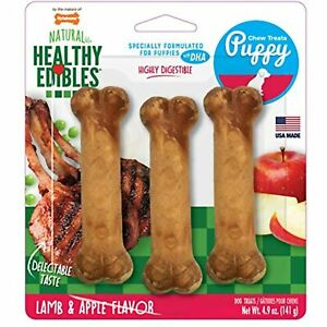 Nylabone Healthy Edibles Puppy Chew Treats, Lamb & Apple, Regular, 3 Count,