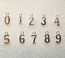 Number Charms 0-9 SET Silver Plated Lot Bulk Wholesale Bracelet Pendant Jewelry