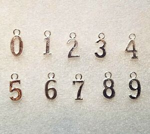 Number Charms 0-9 SET Silver Plated Lot Bulk Wholesale Bracelet Pendant Jewelry