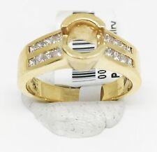 14K Yellow Gold Semi Mount Bezel Cut Diamond Engagement Ring, Dia 0.48 CT