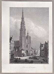 Antwerpen, Anvers - Dom mit Teilansicht - Stahlstich von Brinkmann um1850