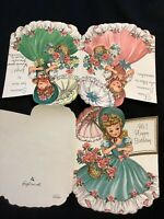 "#1989🌟Vintage 40s ""Hi! Happy Birthday!"" 3-Southern Belles Parasol Greeting Card"