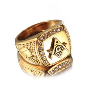 Men's Stainless Steel Ring Free Masonic Ring Fashion Biker Ring Gold Size 7-13