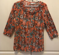 Kim Rogers multi colored Tunic Blouse with 3/4 sleeves PL