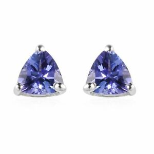 925 Sterling Silver Platinum Over Blue Tanzanite Stone Stud Solitaire Earrings