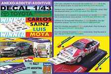 ANEXO DECAL 1/43 TOYOTA CELICA GT4 C.SAINZ R.ARGENTINA 1991 WINNER (01)