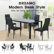 4/5/6/7PC Indoor Black/White Dining Set Kitchen Table&Chairs Glass Top