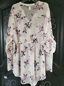 Torrid 4 Top Duster Floral Peplum Button Blouse sheer shirt baby doll plus 26W