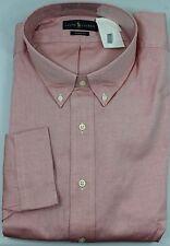 Polo Ralph Lauren Dress Shirt Mens 22 36 37 Classic Fit Orange Brown Pony