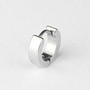 Unisex Titanium Stainless Steel Small Round Hoop Sleeper Earrings Jewelry Punk