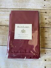 Ralph Lauren Estate Sheet King Pillowcases Cotton Sateen Pair New Damask Red