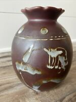Gorgeous Studio Pottery Matte Glaze Bird Of Paradise Vase
