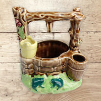 Vintage Pottery Planter Wishing Well Mid Century Modern, Unmarked