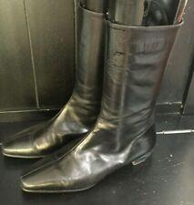 MANOLO BLAHNIK WOMEN'S BLACK LEATHER MID CALF LOW HEELED BOOTS EU 39 / US 8.5