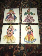 Vintage Greeting Cards - International Dolls Girls - Set Of 4
