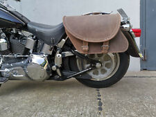 HD Harley Davidson Slim Deluxe Softail Fatboy Saddle Bags Braun Brown Leather