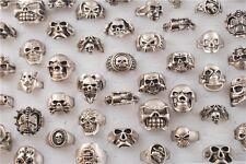 Man's 5pcs Vintage Tibet Silver Frosting Skull Head Rings Biker Rings 17-21mm