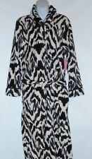 Covington Ladies Long Plush Fleece Zebra Print Wrap Robe + Slippers Medium (M)