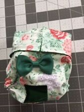 Green Floral Exchangeable Bow Female Dog Diaper Panty Carols Crate Covers