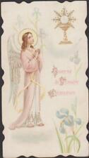 BELLE IMAGE PIEUSE HOLY CARD SANTINI ANGE / CALICE - IRIS BLEUS