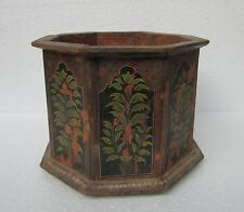 Vintage Old Painted Wooden Planter Box Unique Shape Handcrafted Collectible