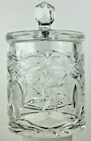 """Vintage 8"""" Hand Cut 24% Lead Crystal Canister Jar With Lid Made In Poland NIB"""