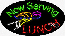 "New ""Now Serving Lunch"" 27x15 Oval Solid/Animated Led Sign w/Custom Option 24541"
