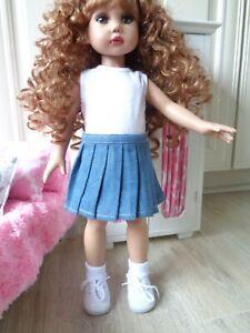 "Pleated Denim Skirt Set Fits 18"" Vinyl Slim Body Dolls-Also American Girl Dolls"