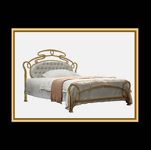 Design Betten Metallbett Luxusbetten Modell Grasse Gold Patina - Breite 180 cm