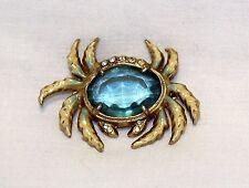 Vintage Mid Century Blue Cabochon Rhinestone Enamel Gold Tone Crab Pin Brooch