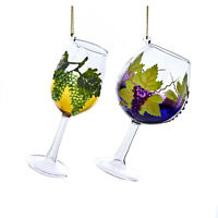 Set/2 Kurt Adler Wine Glass Grape Vine Pinot Zin Christmas Tree Decor Ornaments