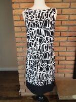 AB Studio Sleeveless Sheath Dress Summer Black White Womens US Size 6 Small S