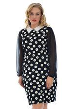 Neu Damen Übergröße Kleid Frau Gänseblümchen Muster Blumen Peter Pan Chiffon