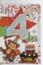 Carte voeux.Joyeux Anniversaire.4 ans.singe gâteau.18,5 x 11,5 cm