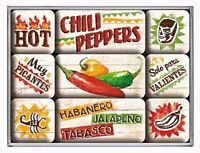 Retro 9 pc Metal Magnet Set 'CHILI PEPPERS' Vintage Country look 1950's Chilli