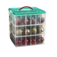 Ornament Storage Box Christmas Organizer Snap N Stack Xmas Trinket Chest 3 Layer