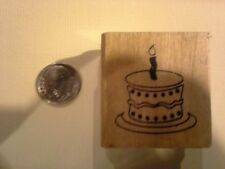 Birthday Cake wood mounted Rubber stamp - some discoloration