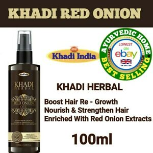 Khadi Herbal red Onion Oil Promotes Hair Growth 100% Natural & Pure 100 ml UK