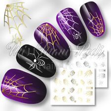 Nail Art Water Transfers Decals Stickers Gold/Silver Spiders Webs Halloween C001