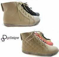 NEW Women's Shoes Fashion Sneakers Lace Up High Top Casual Round Toe Bootie Flat