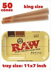RAW Classic King Size Cones with Filter(50 pack)+raw rolling metal tray 11x7inch