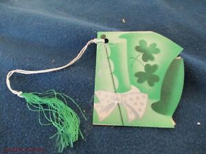UNUSED VINTAGE BRIDGE TALLY CARD ST PATRICKS DAY SHAMROCKS TOP HAT BOW USA